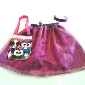 Girls Purple Sparkle Skirt Headband 6X TY Pusre